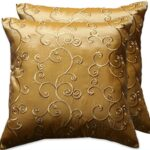 2-Pieces-Thai-Silk-Decorative-Pillow-Covers-Cushion-Cases-Throw-Sofa-Color-Gold-Size-16x16-In-0