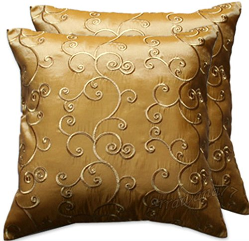 Silk and Sports Emporium : 2 Pieces Thai Silk Decorative Pillow Covers Cushion Cases Throw Sofa Color Gold Size 16x16 In 0 from silkandsports.com size 500 x 484 jpeg 49kB